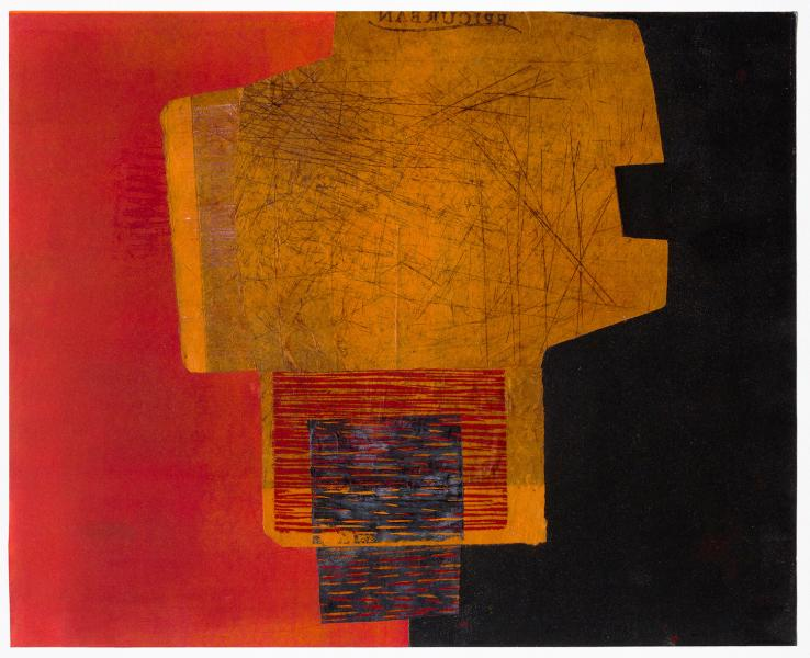 Terri Fridkin - East Meets West 1 - Monotype, Intaglio, Woodcut and Collage